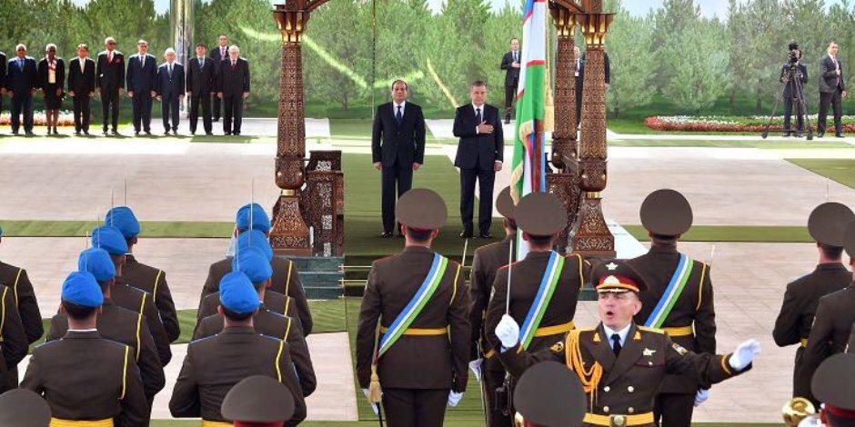 الرئاسة: السيسى ورئيس أوزباكستان يتفقان على زيادة حجم التبادل التجاري