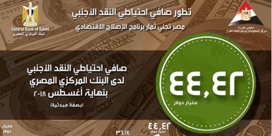خلال 4 سنوات.. مراحل تطور احتياطي النقد الأجنبى في مصر (إنفوجراف)