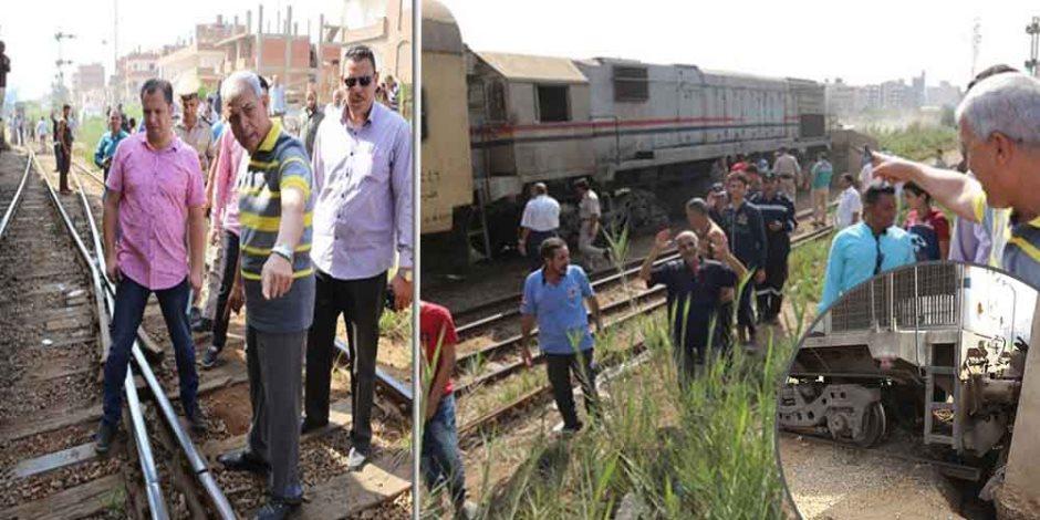 تفاصيل حادث قطار شبين الكوم: تخطي «سيمافور» السبب.. والرصيف وراء الإصابات (صور)