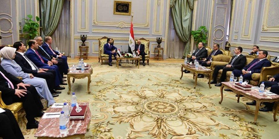 """إعادة الإعمار والتعاون التجاري أبرز القضايا.. تفاصيل لقاء """"عبدالعال"""" مع رئيس برلمان العراق"""
