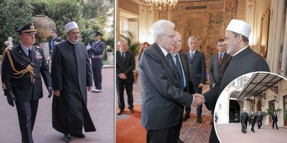 تفاصيل ما دار بين شيخ الأزهر والرئيس الإيطالي بقصر الرئاسة بـروما (صور)