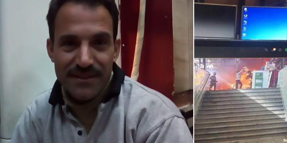 بطل حادث القطار.. عامل بدرجة إنسان في محطة مصر (فيديو)