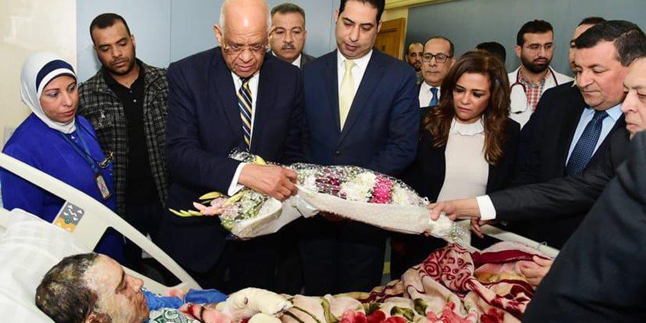 رئيس البرلمان في زيارته لمصابي حادث محطة مصر: البرلمان سوف يستمع لبيان الحكومة حول الكارثة
