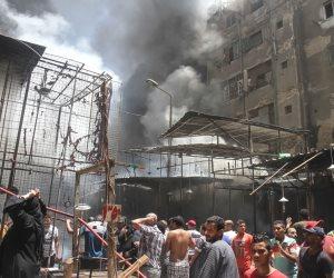 التفاصيل الكاملة لحريق سوق الملابس بمنطقة إمبابة (فيديو)