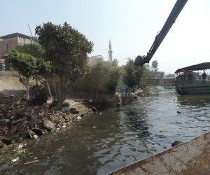 حملة مكبرة لإزالة التعديات بوسط نهر النيل (صور)