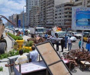حملة لإزالة الإشغالات في ميدان قصر رأس التين