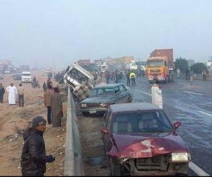 مصرع شخصين وإصابة 11 آخرين في حادث سيارتين بمنشأة القناطر