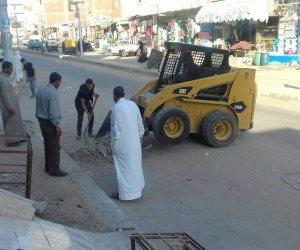 حملة موسعة لإزالة الإشغالات بمدينة بئر العبد في سيناء (صور)