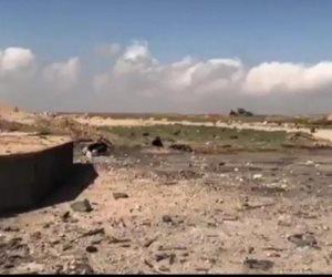 شاهد.. اللقطات الأولى للقاعدة الجوية السورية بعد الضربات الأمريكية