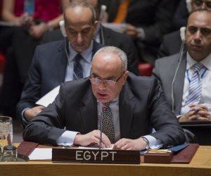 مندوب مصر بمجلس الأمن: قوى إقليمية تعبث بمقدرات الشعب الليبي والمنطقة