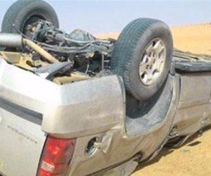 إصابة 5 أشخاص في انقلاب سيارة بطريق طور سيناء
