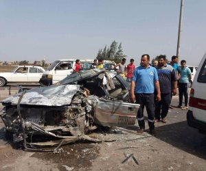 مصرع 4 أشخاص وإصابة 40 آخرين في تصادم 10 سيارات بطريق إسكندرية الصحراوي