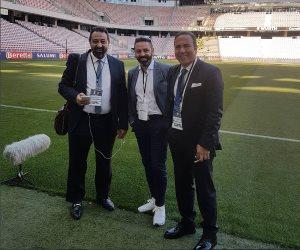 حازم إمام وصورة جديدة في تغطية مباراة إيطاليا وأوروجواي