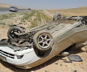 مصرع شخصين وإصابة 4 آخرين فى انقلاب سيارة ملاكي بالمنيا