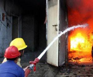 الحماية المدنية تسيطر على حريق هائل بمخزن ملابس فى 6 أكتوبر