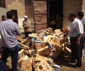 إعدام طن من مضبوطات سلع غذائية منتهية الصلاحية بشبرا الخيمة (صور)