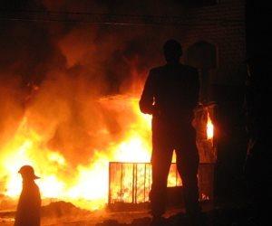 إخماد حريق نشب داخل مطعم بشارع فيصل
