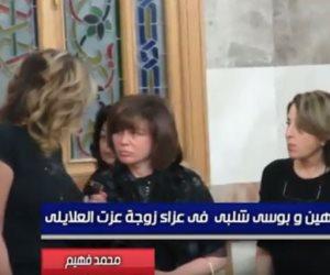 بوسي وإلهام شاهين وبوسي شلبي في عزاء زوجة عزت العلايلي