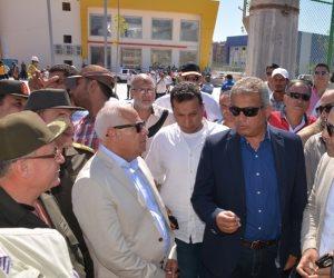 « بالصور » وزير الشباب والرياضة يزور المجمع الرياضي ببورسعيد قبل افتتاحه