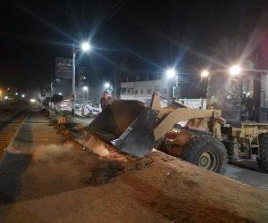 حملة ليلية لإزالة الأتربة بطول طريق السكة الحديد بقلين في كفر الشيخ (صور)