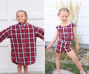 فساتين جديدة من ملابس قديمة .. أم تصنع فساتين لابنتها من قمصان زوجها القديمة