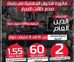 فاتورة الإخوان الإرهابية في رابعة.. مصر ذاقت المرار (إنفوجراف)