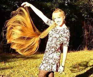 تعرفى على سر قوة وجمال شعر فتاه يبلغ طول شعرها 34 بوصة تقضي نصف ساعة لتضفيره