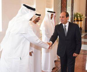 محمد بن زايد يودع السيسي قبل مغادرته أبوظبي (صور)