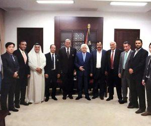الرئيس الفلسطينى يستقبل الوفود المشاركة بالبطولة الدولية للتايكوندو (صور)