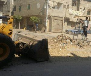 إزالة إشغالات كوبري أبو موسى بروضة دمياط (صور)