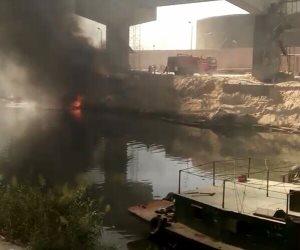 """السيطرة على حريق بـ """"صندل"""" لنقل البضائع بترعة النوبارية بالإسكندرية (صور)"""