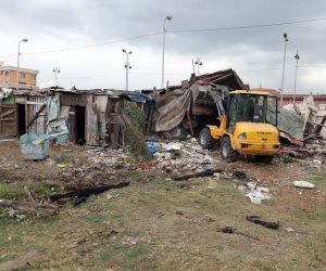 حي شرق الإسكندرية يزيل التعديات بالطريق الزراعي السريع في المحافظة
