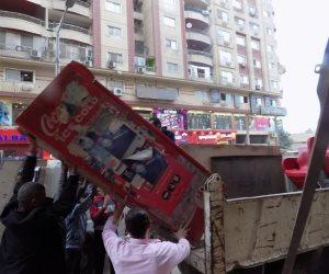 حي الهرم يزيل أكشاك وفاترينات ويصادر ثلاجات عرض (صور)