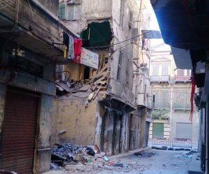 انهيار جزئي بعقار غرب الإسكندرية بدون اصابات