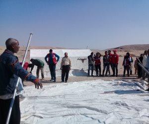 معسكر تجريبي بمدينة الطود وخيام الإيواء استعدادا للأمطار والسيول