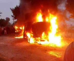 مصرع  4 أشخاص فى حادث اشتعال النيران بسيارة على الطريق الزراعى بالبحيرة