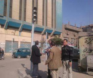 تركيب كاميرات وإشارات مرورية في ميادين حلوان (صور)