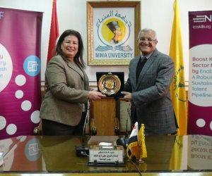 """جامعة المنيا توقع اتفاقية مع """"ايتيدا"""" لتفعيل """"إطار المهارات الوطني"""" (صور)"""