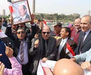 بالمزمار .. معلمو مصر في مسيرة حاشدة على كوبري قصر النيل لتأييد السيسي (صور )