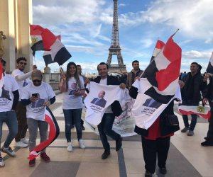 الجالية المصرية بفرنسا تنظم وقفة بجوار برج إيڤل لدعم ترشح السيسي لانتخابات الرئاسة