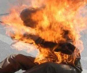 مريض نفسي يشعل النيران في نفسه ببلقاس دقهلية