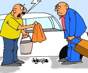 سائق لمواطن: انسى الدلع بتاع أوبر وكريم.. وخد طوق التاكسي (كاريكاتير)
