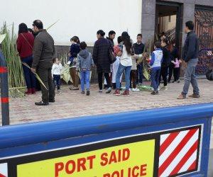 تشديدات أمنية مكثفة وإغلاق لمحيط الكنائس تزامناً مع أحد السعف ببورسعيد (صور)