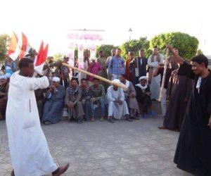 الصعايدة وصلوا.. مزمار بلدي وتحطيب في احتفالات فوز الرئيس بأسوان