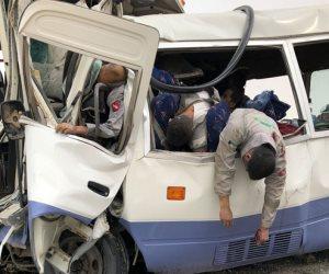 مصرع 5 مصريين في حادث تصادم حافلتين بالكويت (صور)
