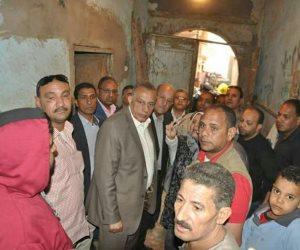 محافظ الجيزة يتفقد المنازل المتصدعة جراء أعمال التنقيب عن الأثار بأوسيم (صور)