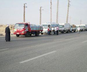 قافلة مساعدات الأزهر الشريف تصل مدينة بئر العبد في طريقها لقطاع غزة