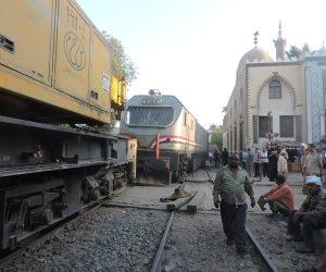 خروج قطار بضائع عن القضبان فى مغاغة يؤدي إلى تعطل حركة قطارات الصعيد