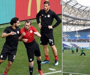 الفراعنة والأخضر.. شاهد صور اللحظات الأخيرة قبل انطلاق مباراة مصر والسعودية