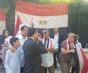 حلوة يا بلدي.. المصريون في أثينا يحتفلون بالذكرى الخامسة لثورة 30 يونيو